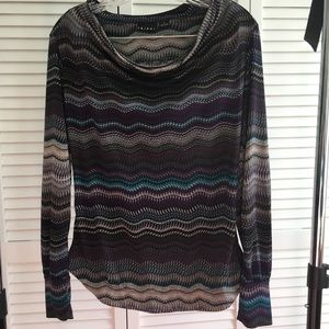 Versatile striped cowl neck Tribal top (sm-med)